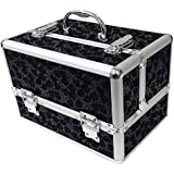 Large Black Floral Professional Aluminium Beauty Cosmetic Box Make Up Case