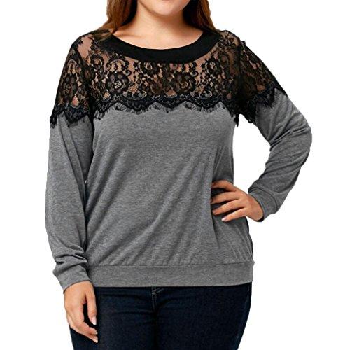 Oyedens taglia grossa t-shirt da donna casual con maniche lunghe in pizzo e o-collo abbigliamento donna (xxxl, grigio)