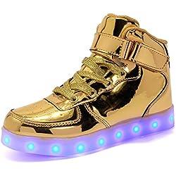 ByBetty Unisex Hombre de Las Mujeres de Alta Top USB Charger Luces LED 7 Colores Zapatillas de Deporte Light Up Zapatillas Zapatos Parejas Zapatos