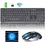 Hoopond combinazione di tastiera e mouse wireless ricaricabile 2.4G, Retro punk bianco tastiera da gioco retroilluminata +6 flash arcobaleno chiave 2400 DPI mouse + mouse pad (luce bianca e nera)
