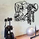 Cadena de hierro moderna Body Building Gym Fitness Art Wall Home Decor Mural Vinilo DIY extraíble Sport Plane Wallpaper 57X58CM