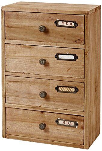 Geko hoch 4Schubladen Aufbewahrung, Holz, braun, 23x 13x 34cm -