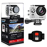 AKASO Action Cam 4K WIFI Sport Action Kamera 170°Ultra Weitwinkel Full HD Camera mit 12MP Wasserdichte Kamera 2 Zoll LCD Bildschirm 2.4G Fernbedienung zum auslösen 19 Zubehör Kits (Silber)