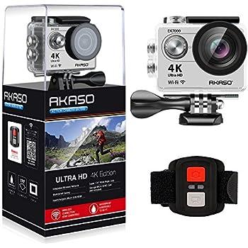 AKASO Action Cam 4K WIFI Sport Action Camera 170° Ultra Weitwinkel Full HD Kamera mit 12MP Helmkamera Wasserdichte Kamera 2.4G Fernbedienung zum auslösen mit 2 Batterien19 Zubehör Kits (Silber)