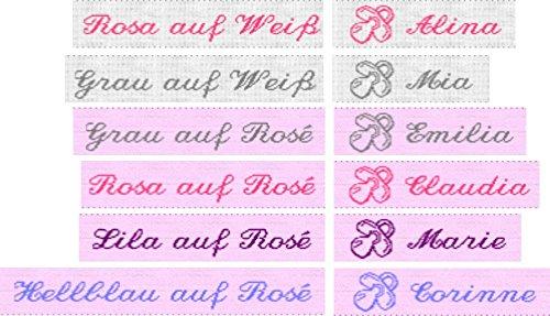 50 gewebte Etiketten mit Motiv Schnuller (Mädchen) und Ihrem Namen zur Kennzeichnung von Babykleidung 10mm - Wäsche-Etiketten