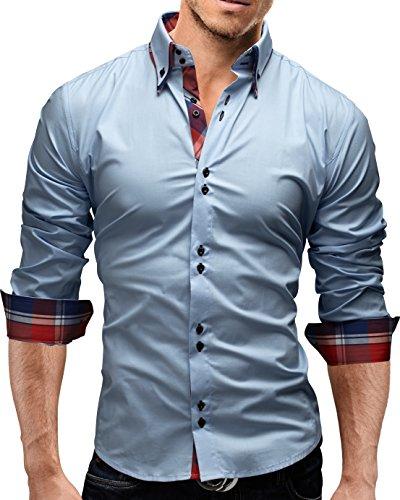 MERISH Slim Fit Hommes Chemise à manches longue Chemise bicolore Contrastes plaid adapté pour toutes les occasions, Modell 207 Bleu clair