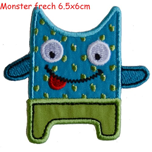 2 iron-on fabric Patches Submarine 9.5x8 and Monster boldly 6.5x6cm TrickyBoo Design Zurich