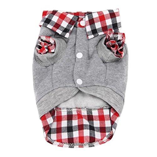Männliche Gute Kostüm - LHWY Nette Welpen Winter Warm Kleidung Pullover Poloshirt Kostüm Jacke Mantel Plaid Strickjacke Männlicher Hund (L, Grau)