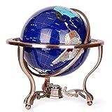 Mappamondo da Tavolo Top Mappamondo Blu Lapis Ocean Gemstone World Globe con treppiede in Metallo per Ufficio Decorazione Studio Camera Studio,A