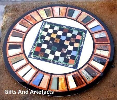 Gifts And Artefacts 121,9cm schwarz rund Marmor Sofa Tisch Top Einlage Einlegearbeiten Art Schachbrett Design - Marmor Top Sofa Tisch