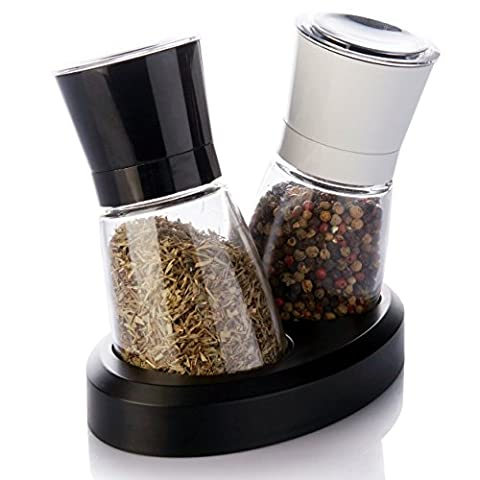 1aTTack Modern Salt and Pepper Mill 2-Piece Set with Adjustable Ceramic Grinders for Pepper, Coarse Himalayan Salt, Sea Salt and Dried Chili Peppers - Manual Spice Mills
