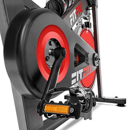 Fitfiu Fitness BESP-22, Bicicletta Spinning Ergonomica, 24 kg Volano di Inerzia, Display LCD, Frequenza Cardiaca Unisex – Adulto, Grigio, M