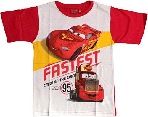Disney Cars T-Shirt - Lightning Mc Queen - Fastest Crew on The Circuit - Rot/Weiß/Mehrfarbig