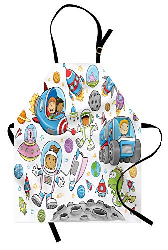 Abakuhaus Weltraum Kochschürze, Netter Weltraum-Astronaut-Mädchen-Junge Aliens Rockets auf Mond scherzt Kinderzimmer-Thema, Farbfest Höhenverstellbar Waschbar Klarer Digitaldruck, Mehrfarbig