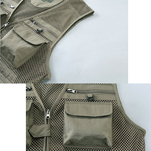 Zhhlaixing Bon tissu Mens Summer Thin Mesh Multifunction Fishing and Photography Vest Gilet Gift for Father's Day green