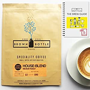 150 Grams Sample Whole Beans Brown Bottle Coffee House Blend Coffee Beans | Strong Medium Roast Ground Coffee Blend Perfect for Espresso Coffee Cafetiere Filter or Moka Pot | 100% Arabica Beans Speciality Coffee | RFA | Fair Trade Organic