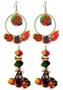 Crunchy Fashion Multicolor Metal Pom Pom Dangle & Drop Earrings Combo For Women