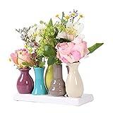 Keramikvasenset Blumenvase Keramikvasen bunt / weiß Vase Blumen Pflanzen Keramik Set Deko Dekoration (7 Vasen, bunt)