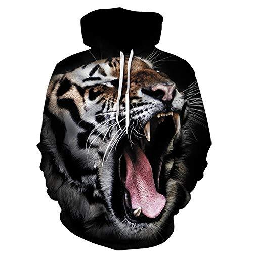Kostüm Gangster Girl - Xmiral Herren Kapuzenpullover 3D Gedruckt Tiger Langarm Sweatshirt Tops Persönlichkeit Mode kostüm(S,Schwarz)