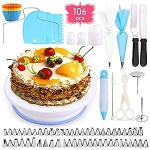 GVOO Tortendekoration-Set,106 PCS Kuchen Ausstecher Dekoration Set Tortenzubehör-Set mit drehbarer Tortenplatte/Tortenständer für Zuckerguss und Deko,Werkzeug für Anfänger und Profis