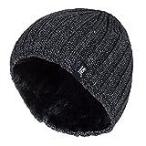 HEAT HOLDERS - Herren Thermisch vlies gefüttert gerippt gestrickte Wintermütze/Hut in 4 Farben 3.4 Tog Einheitsgröße (Grau)
