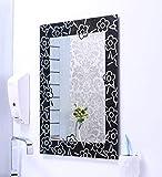 Riya Glass Wall Mounted Black Bathroom Mirror (L x H) (12 x 18)