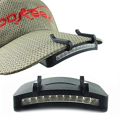 KooKen 11 Leds Hat clip Cap Light Lamp Clip pour les activités de plein air Pêche de nuit Camping équitation