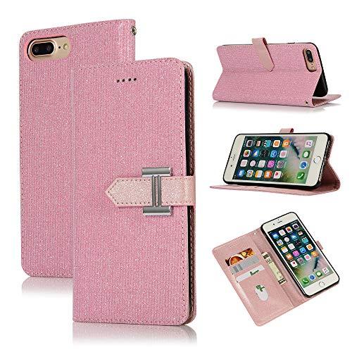 Yobby Hülle für iPhone 7,iPhone 8 Handyhülle,Bling Glitzer Rosa PU Leder Klappbar Handytasche,Flip Case Brieftasche mit Kartenfach Stand Magnetverschluss Schutzhülle