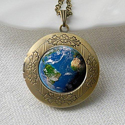 Planet Halskette Medaillon, Universe Halskette Medaillon, Galaxy Halskette Medaillon Anhänger, antik Messing, Glas Halskette Medaillon, Glas Kuppel Halskette (Antik-glas Medaillon)