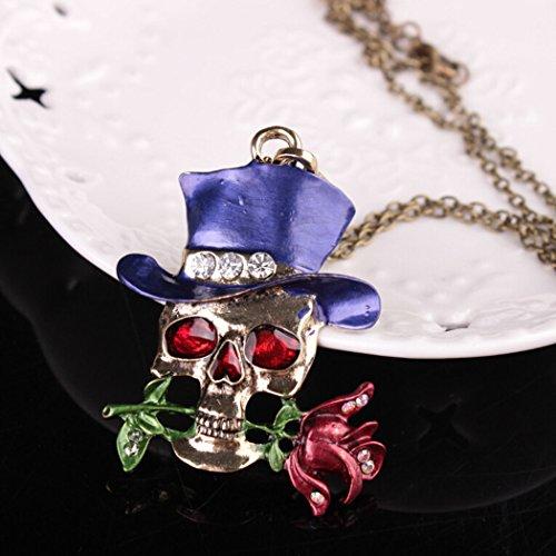 OUTGEEK Halloween-Kostüm-Zusatzrhinestone-Skeleton Schädel-Rosen-Halsketten-hängende Schmucksachen mit Geschenk-Kasten (blau)