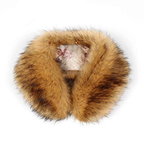 Gusspower Bufanda de Lujo Cuello de Piel de Lana de Cordero de moda para Ropa de Abrigo de Mujer-Múltiples colores (Café)