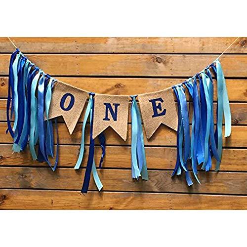 Yojoloin 1. Geburtstag Dekorationen Baby erste Sackleinen Hochstuhl Banner Boy 1. Alles Gute zum Geburtstag Banner Party Dekorationen 1 Year Anniversary. (Geburtstag Banner Boy)