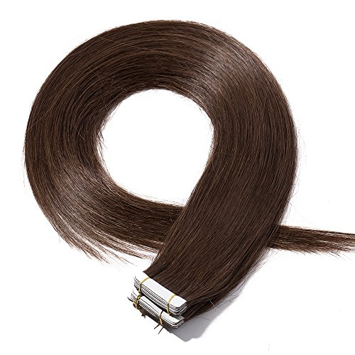 40-55cm extension capelli veri adesive 20 fasce 50g/set 100% remy human hair - tape in hair extension allungamento con biadesivo (40cm #4 marrone cioccolato)