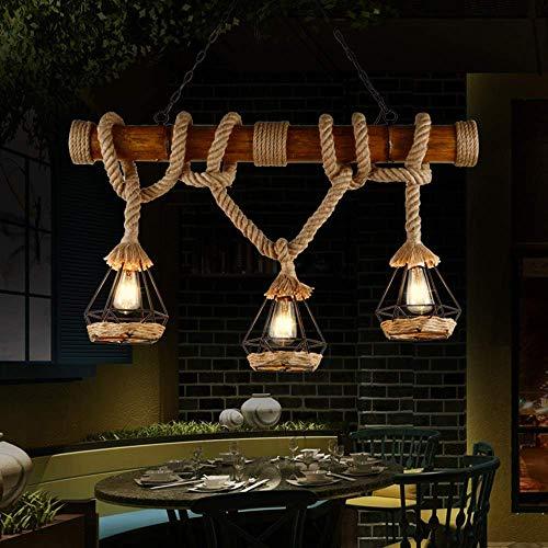 AGWa Vintage Bambus Kronleuchter Industrie 3-Leuchten Seilpendelleuchte Metalldrahtkäfig Lampe Loft Rustikaler Deckenleuchte (nicht enthalten Glühlampen)