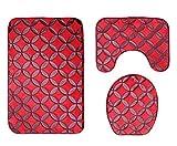 Knbob Badteppich 3 Teilig Runder Stern Rot Badezimmerteppich Set 12 Teilig Für Hänge Wc 80X50Cm