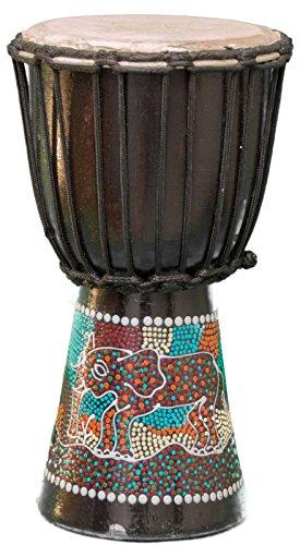 Kascha - Professionelle 30cm Djembe Trommel Bongo Drum Buschtrommel Afrika-Style handbemalt aus Mahagoni Holz Elefant