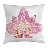 wwoman Lotus - Federa per Cuscino, Motivo: Fiore di Loto Rosa con Ornamenti su Sfondo Bianco, Stile Boho, Decorazione Quadrata, 45 x 45 cm