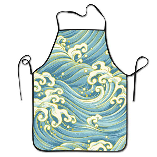 Soft & Durable Polyester Aprons, Fashion Funny Bib Aprons, Damask Antique Classical Damask Flowers Pattern Traditional Artwork Water Proof and Protective for Kitchen Cooking BBQ, Crafting, Drawing (König Bob Kostüm)