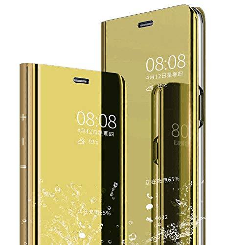 JAMMYLIZARD Smart View Hülle für Huawei P20 Pro | Sichtfenster Spiegel Semi-Transparente Schutzhülle Flip Case Handyhülle Cover, Gold