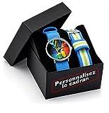 Montre personnalisable avec une photo + Coffret cadeau personnalisé avec deux bracelets Nato tressés turquoise. Visualisez votre montre personnalisée.