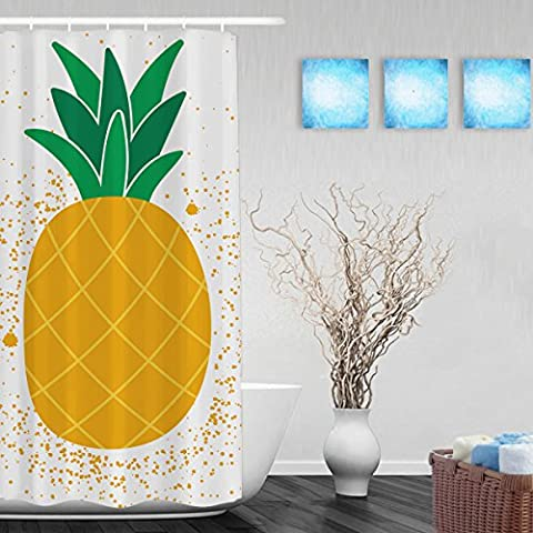 Say Hello To Summer Shower Curtain Bright Exotic Fruit Pineapple Decor Bathroom Shower Curtains Waterproof Mildewproof Polyester Fabric Yellow 36