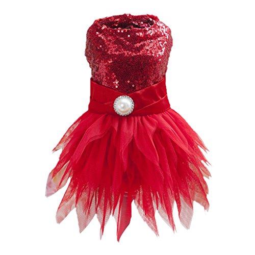 perfk Modern Welpen Hunde Tutu Rock Prinzessin Kleid Kostüm - Rot M