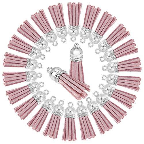 Ruby - 24 Troddel anhänger, Leder quaste Mini, Quasten mit Silber Kappe schlüsselanhänger (Rose Pastell) -