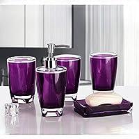 KHSKX Set di suite semplice vasca da bagno acrilica di cinque kit di lavaggio bagno continentale , Purple - Tenda Acrilica