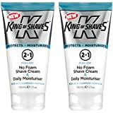 King of Shaves 2-in-1 No Foam Shave Cream & Daily Moisturiser TWIN-PACK