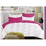 155x220 cm Bettwäsche mit 1 Kissenbezug 80x80 Bettwäscheset Bettbezüge Microfaser Bettwäschegarnituren Reißverschluss Basic Collection Owly weiß rosa amarant