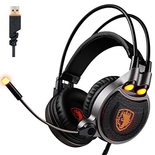 SADES R1 USB Gaming Headset 2017 Neue Update Gaming Headset USB Verdrahtete PC Gaming Headset Über Ohr Kopfhörer Gaming mit Mikrofon Revolution Lautstärkeregelung Noise Cancelling LED-Licht (schwarz)