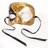 Venezianische Maske Domino Scacchi Gold Weiß Schwarz Palandi®