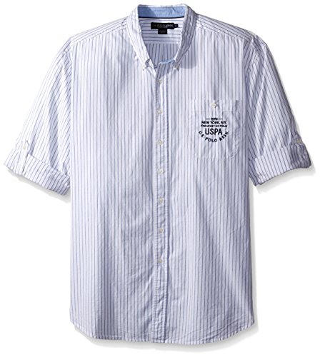 U.S. Polo Assn. Men's Big-Tall Button Down Slim Fit Striped Oxford Shirt, Optic White, X-Large/Tall (And Tall Hemd Oxford Big)