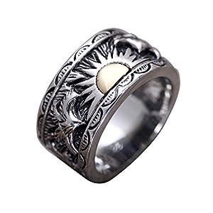 FORFOX Herren Damen Vintage Breite 925 Sterling Silber Gold Sun Band Ring Schmuck mit Adler 13 mm